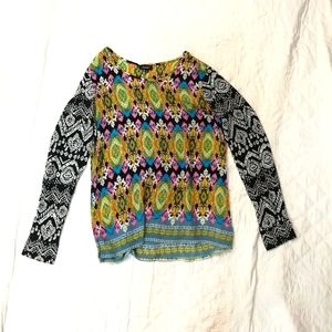 Gorgeous tolani mixed pattern silk blouse small